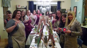 in home painting party | wine canvas sip and paint | harrisburg, mechanicsburg, camp hill