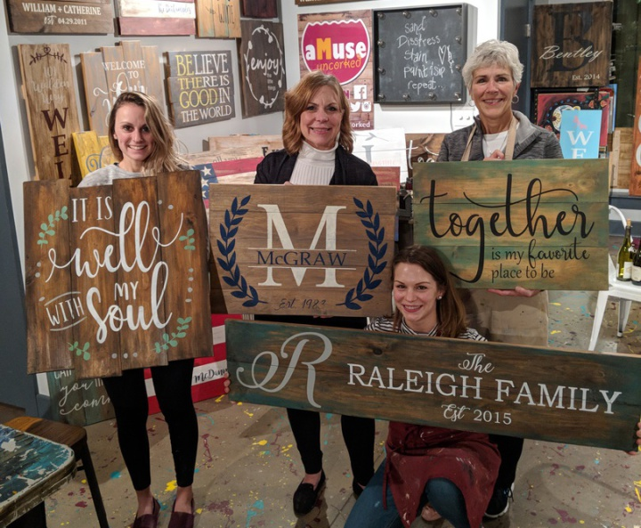 diy mother's day wood signs harrisburg mechanicsburg | pallet paint board brush bachelorette party