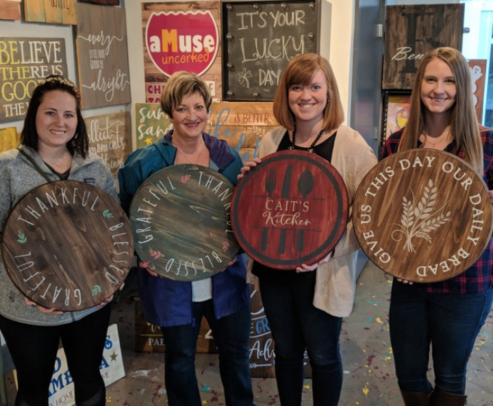 pallet night carlisle   rustic wood sign pallet party cumberland valley board brush