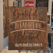 grateful thankful blessed wood pallet sign | personalized last name | custom family name grateful wood sign