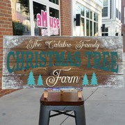 Custom Pallet Christmas Wood Sign | Rustic Decor Christmas Tree Farm Harrisburg | Customizable Last Name