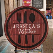 Custom Lazy Susan DIY Mechanicsburg | First Name Kitchen Lazy Susan Rustic Round Sign