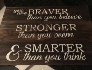 Braver Stronger Smarter Rustic Wood Sign | Rustic Pallet Nursery Room Decor Harrisburg Mechanicsburg