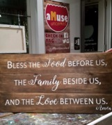 Bless the food before us the family beside us the love between us | quote rustic wood pallet sign
