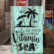 all i need is vitamin sea wood sign | diy beach decor pallet sign class harrisburg central pennsylvania | fun things for adults to do near hershey pa