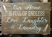 Our Home is Full of Endless Love Laughter Laundry Sign | Pallet Laundry Room Decor Harrisburg Mechanicsburg