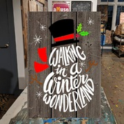 Walking in a winter wonderland snowman pallet sign | diy christmas wood signs mechanicsburg harrisburg carlisle hershey | office christmas party ideas