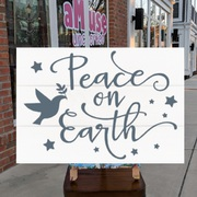 peace on earth wood sign | peace christmas decor white and gray | diy christmas signs class mechanicsburg harrisburg hershey carlisle
