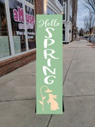 spring wooden porch sign | wood sign workshop class central pennsylvania | spring porch decor diy
