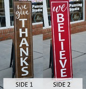 Reversible Wood Sign Porch Greeter | Rustic Pallet Sign Give Thanks We Believe Christmas Autumn Double-Sided