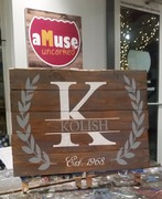 Custom Last Name Initial Rustic Wood Sign | Woodworking Workshop Harrisburg Mechanicsburg