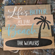 custom beach sign | life is better at the beach | rustic custom beach decor pallet sign harrisburg mechanicsburg