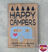 happy campers wood sign | personalized rv campsite sign | diy wood sign class hershey harrisburg