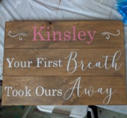 Custom Nursery Wood Pallet Sign | Your First Breath Took Ours Away Personalized Baby Name Boy Girl