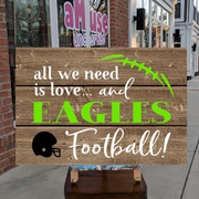 custom nfl wood sign | custom college football wood sign | football decor mechanicsburg | eagles steelers penn state rustic pallet sign