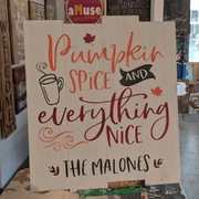 Pumpkin Spice Everything Nice Wood Sign Custom Last Name Fall Wooden Sign | Better Than Board Brush Mechanicsburg