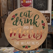 Christmas Pallet Wood Round Sign | Rustic Decor Christmas Decor Harrisburg | Customizable Last Name Christmas Sign | Eat Drink Be Merry Custom Lazy Susan