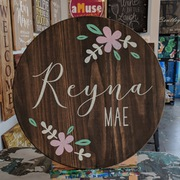 baby girl nursery custom round sign | rustic floral baby decor name | girl nursery lazy susan or round wood sign mechanicsburg harrisburg