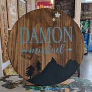 baby boy nursery custom round sign | rustic woodland mountains trees boy nursery decor | boy nursery lazy susan or round wood sign mechanicsburg harrisburg