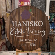 Round wine barrel sign personalized | family name estate winery custom | round sign, lazy susan, mechanicsburg, harrisburg, board brush pallet signs