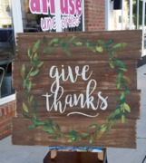 Give Thanks Rustic Wood Pallet Sign | Wooden Sign Thanksgiving Decor Harrisburg Mechanicsburg