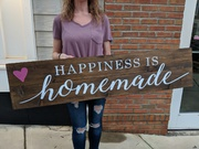 Happiness is Homemade Rustic Kitchen Wood Sign | Pallet Nights Mechanicsburg Board Brush