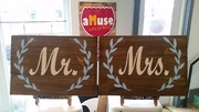Mr Mrs Wooden Sign | Rustic Barn Wedding Gift