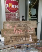 Love and a Cat Rustic Wood Sign | Woodworking Workshop Harrisburg Mechanicsburg