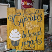 Cupcakes are muffins that believed in miracles rustic wood sign | kitchen bakery farmhouse signs mechanicsburg pa