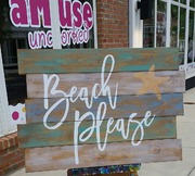 Beach Please Rustic Wood Pallet  Sign | Wooden Sign Beach Decor Harrisburg Mechanicsburg