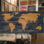 world map rustic wood sign | travel decor pallet sign mechanicsburg | map explore travel adventure wall decor