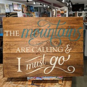 Mountains are Calling and I Must Go Rustic Wood Pallet Sign | Wooden Sign Mountain Decor Harrisburg Mechanicsburg