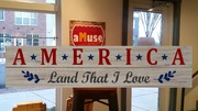 america wood sign | patriotic wood signs diy class | american land that I love paint pallet sign patriotic decor