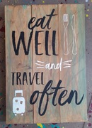 Eat Well Travel Often Rustic Wood Pallet Sign | Wooden Sign Rustic Travel Decor Harrisburg Mechanicsburg