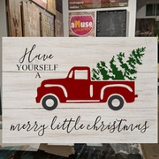 red pickup truck christmas tree wood sign | christmas pallet signs mechanicsburg harrisburg | have yourself a merry little christmas