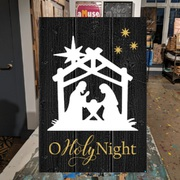 nativity wood sign | manger pallet sign | o holy night christmas wood sign