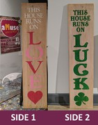 Valentines St Pattys Reversible Wood Sign Porch Greeter | Rustic Pallet Sign Love Luck Double-Sided