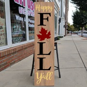 Happy Fall Y'all Porch Sign | fall porch decor autumn porches diy | porch sign class mechanicsburg board brush