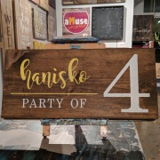 custom last name party of wood sign. farmhouse rustic pallet sign family name party of 3, 4, 5, 6, 7. kitchen sign