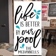 custom swimming pool wood sign | life is better by the pool diy pallet sign