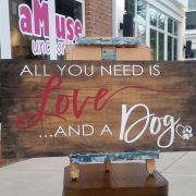 all you need is love and a dog wood sign | diy rustic wooden signs harrisburg mechanicsburg carlisle