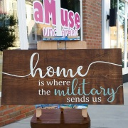 home is where the military sends us rustic wood sign | pallet sign diy class harrisburg mechanicsburg carlisle
