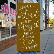 the lord is my strength and my song | rustic wood sign bible verse mechanicsburg | religious pallet signs