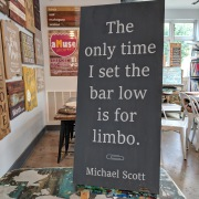 the office tv show quotes | michael scott quotes wood sign | the only time i set the bar low is for limbo | rustic wood pallet sign mechanicsburg harrisburg