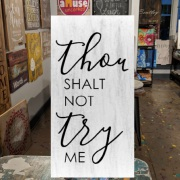 thou shalt not try me wood sign | mother's day gift idea for mom harrisburg | diy wood sign class hershey