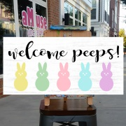 easter wood sign | welcome peeps cute easter decor pallet signs diy mechanicsburg board and brush