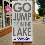 go jump in the lake wood sign | diy pallet sign class hershey harrisburg carlisle | rustic lake decor sign