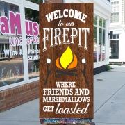 welcome to our firepit sign | camping campfire wood sign | where friends and marshmallows get toasted