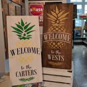 pineapple wood sign | tropical welcome pallet sign customizable with last name | adult things to do hershey area