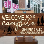 personalized campsite wood sign | custom rv site pallet sign | diy firepit sign class mechanicsburg
